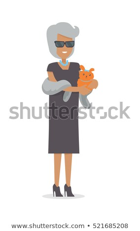 Rich Lady with Pet in Luxury Fur Isolated on White Stock photo © robuart