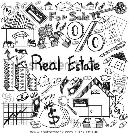 Doodle onroerend huis icon zwart wit symbool Stockfoto © pakete