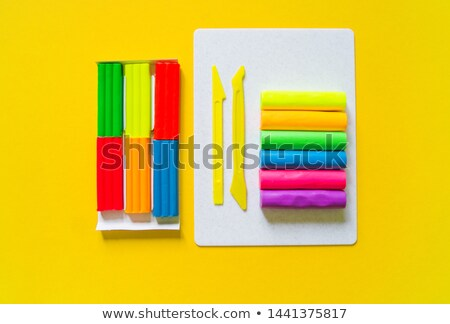 Rainbow board with many kids in background Stock photo © bluering