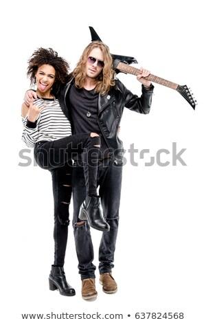 Kő zsemle pár áll nő dől Stock fotó © feedough