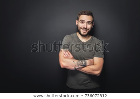 Stok fotoğraf: Adam · siyah · portre · gülen