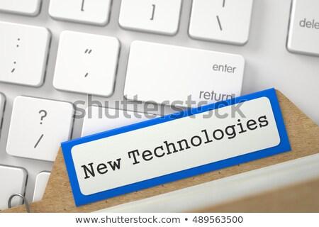 mappa · írott · kék · fehér · modern · számítógép - stock fotó © tashatuvango