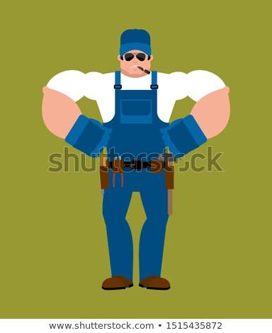 Loodgieter sterke ernstig krachtig dienst werknemer Stockfoto © popaukropa