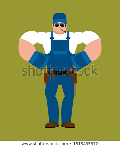 bouwvakker · loodgieter · cartoon · illustratie · pijpen - stockfoto © popaukropa