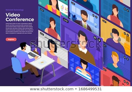 Teia conferência bandeira homem caderno webinar Foto stock © Genestro
