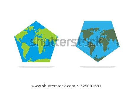 Pentagonal world map. World Land and oceans on an unusual form g Stock photo © popaukropa