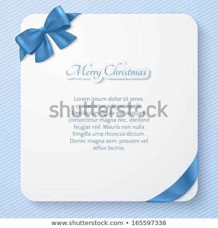 Invitation card with blue holiday ribbon and bow Stock photo © fresh_5265954
