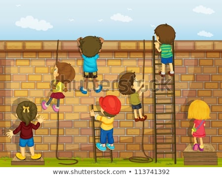 Many kids climbing up ladder in park Stock photo © bluering