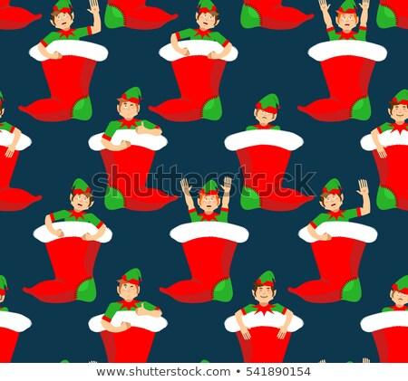 Natal lotação elfo padrão pequeno Foto stock © popaukropa