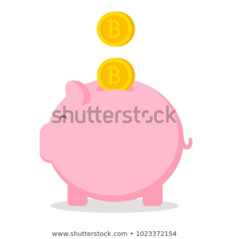 Piggy bank icon, golden bitcoin coin virtual money. Cryptocurrency and saving concept, vector illust Stock photo © ikopylov