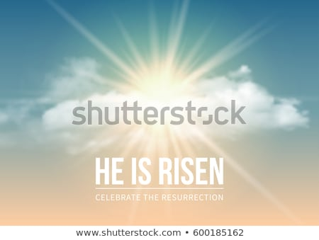 Easter Holiday illustration with heavenly light and cloud on blue sky background. He is risen. Vecto Stock photo © articular