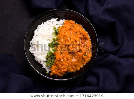 lentil dhal with rice and vegetable stock photo © glorcza