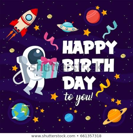 űrhajós születésnap ajándék pop art retro giccs Stock fotó © studiostoks