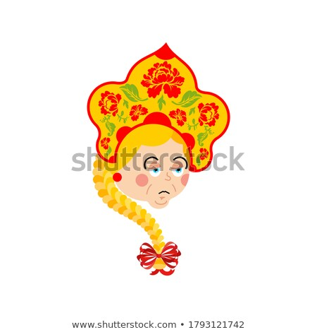 Russia sad emoji. Russian Girl sorrowful emotions. Female dull i Stock photo © popaukropa