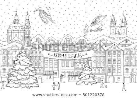 hand drawn black and white illustration of a city in winter at c stock photo © nikodzhi