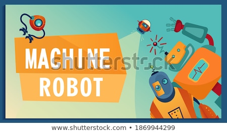 Robot Poster with Text Sample Vector Illustration Stock photo © robuart