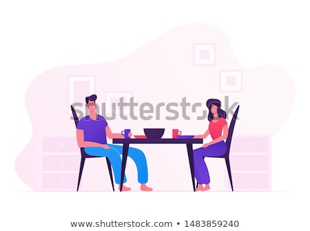 Romantic Dinner For A Young Married Couple At Home Vector. Isolated Illustration Stock photo © pikepicture