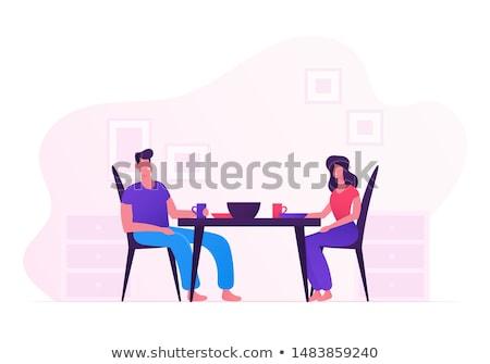 Romantische diner jonge echtpaar home vector Stockfoto © pikepicture