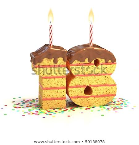 Fête d'anniversaire gâteau au chocolat 18 année Photo stock © ordogz