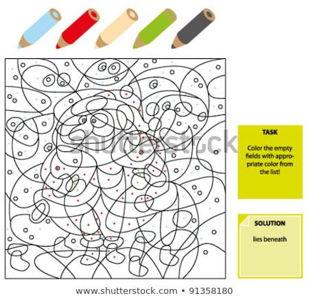 Foto stock: Sombra · juego · papá · noel · color · libro · blanco · negro