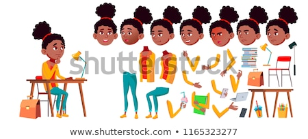 Teen Girl Vector. Black. Afro American. Animation Creation Set. Face Emotions, Gestures. Friendly, C Stock photo © pikepicture