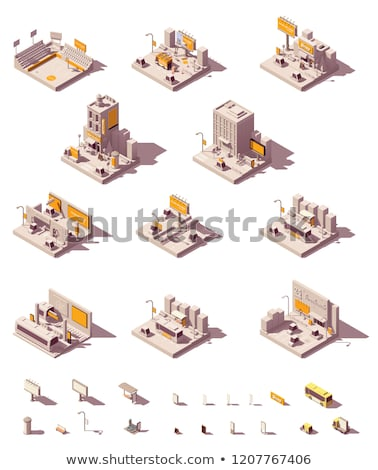 Stock photo: Vector isometric outdoor advertising examples