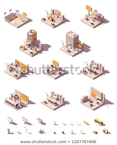 ベクトル · アイソメトリック · バス · 駅 · アイコン · 建物 - ストックフォト © tele52