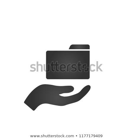 Klasör ikon el moda stil yalıtılmış Stok fotoğraf © kyryloff
