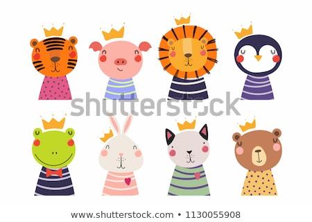 Rajz mosolyog herceg kiscica korona grafikus Stock fotó © cthoman
