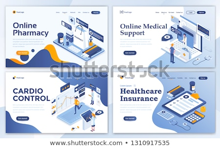 Stockfoto: Online · medische · ondersteuning · 3D · sjabloon · isometrische