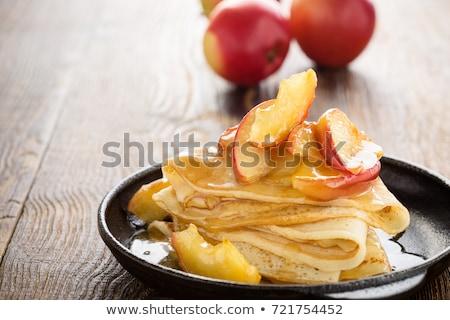яблоко Ломтики кофе белый совета десерта Сток-фото © Alex9500