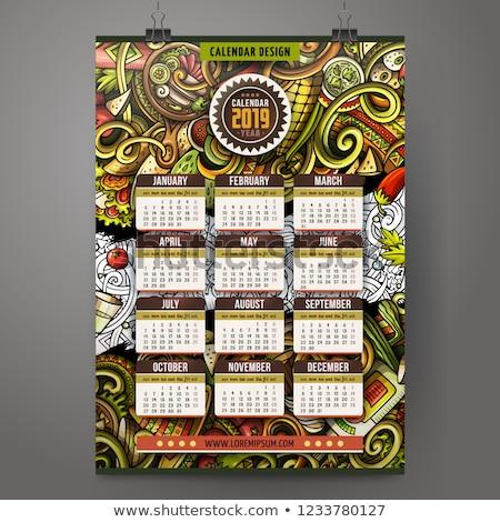 Cartoon colorful hand drawn doodles Latin America 2019 year calendar template. Stock photo © balabolka