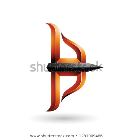 orange and black embossed bow and arrow vector illustration stock photo © cidepix