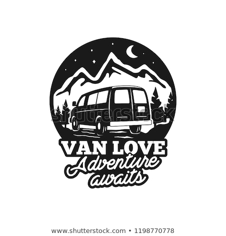 Vintage hand drawn camp logo badge. Van love - adenture awaits quote. Happy camper in mountains conc Stock photo © JeksonGraphics