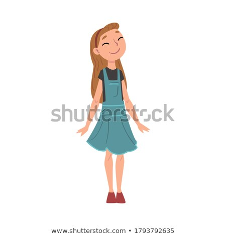 Girl, Child, Kid, Teen Vector. Casual Clothes. Positive. Face Emotions, Various Gestures. Animation  Stock photo © pikepicture