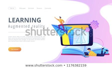 repülés · könyvek · nyitva · körül · Föld · földgömb - stock fotó © rastudio