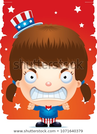 Boos cartoon vaderlandslievend meisje illustratie naar Stockfoto © cthoman