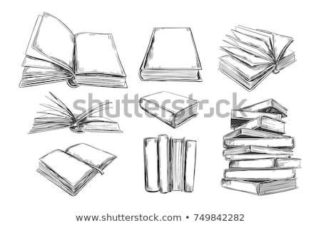 Iskola könyvek irodalom kézzel rajzolt rajz ikon Stock fotó © RAStudio