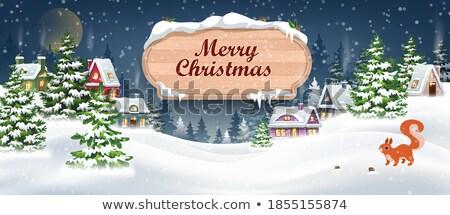 Alegre natal cartões postais hills casas papai noel Foto stock © robuart