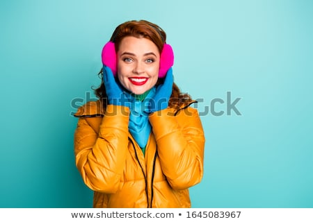 портрет Cute женщину уха шарф Сток-фото © deandrobot