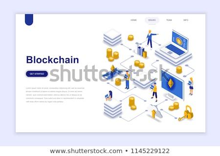 bitcoin · minería · piscina · vector · estilo - foto stock © netkov1