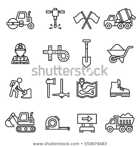 Icon weg dun lijn ontwerp bouw Stockfoto © angelp