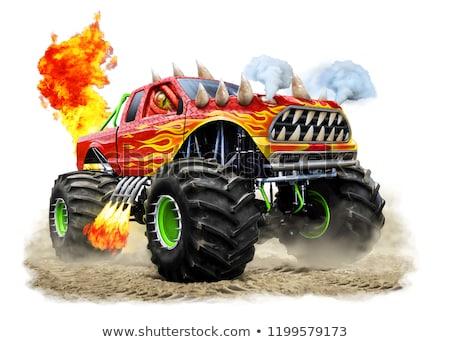 cartoon monster truck isolated on white background stock photo © mechanik