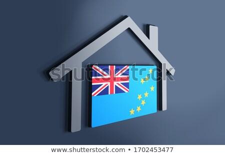 Casa bandeira Tuvalu branco casas Foto stock © MikhailMishchenko