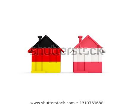 два домах флагами Германия Австрия изолированный Сток-фото © MikhailMishchenko