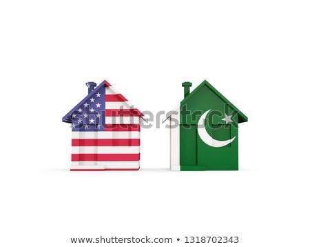Kettő házak zászlók Egyesült Államok Pakisztán izolált Stock fotó © MikhailMishchenko
