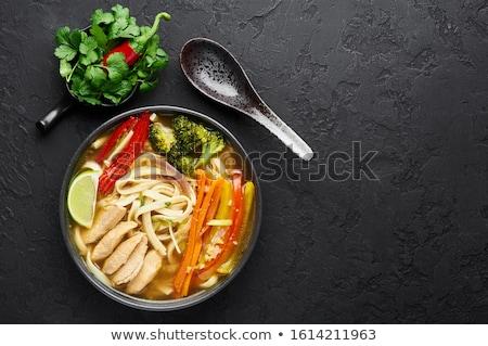 スープ 麺 ボウル アジア 鶏 暗い ストックフォト © szefei