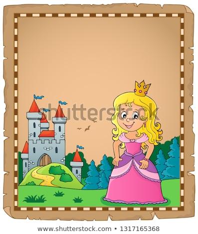 Princesa tema pergamino papel castillo jóvenes Foto stock © clairev