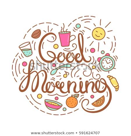 Goedemorgen banner oranje helling bloem Stockfoto © cammep