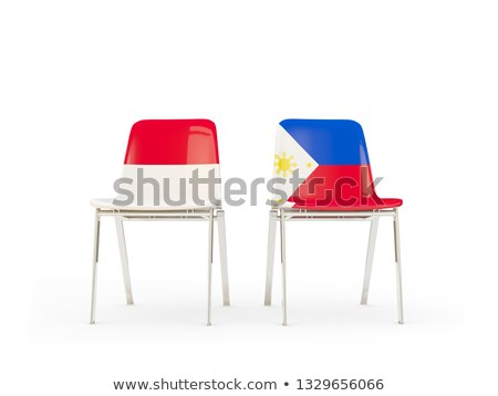 Two chairs with flags of Indonesia and philippines Stock photo © MikhailMishchenko